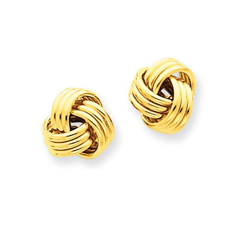 (14K Yellow Gold Basketweave Knot Earrings)