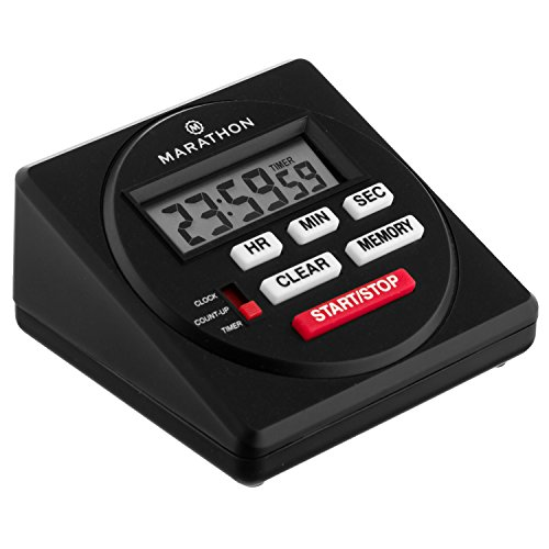 (MARATHON TI080001BK Large Commercial Grade Digital 24 Hour Timer with Countdown, Count-up and Clock Feature - Batteries Included - New & Improved!)