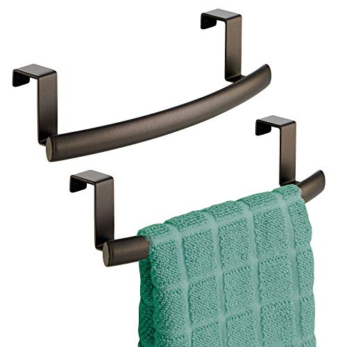 mDesign Modern Metal Kitchen Storage Over Cabinet Curved Towel Bar - Hang on Inside or Outside of Doors, Organize and Hang Hand, Dish, and Tea Towels - 9.7 Wide, 2 Pack - Bronze