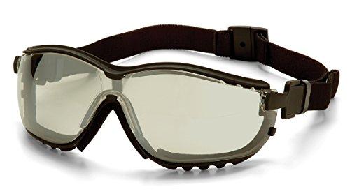 Outdoor Lens Safety Glasses (Pyramex V2G Safety Glasses, Black Frame/Indoor-Outdoor Mirror Anti-Fog Lens)