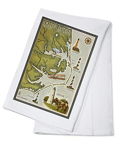 Outer Banks, North Carolina - Lighthouse and Town Map (100% Cotton Kitchen Towel)