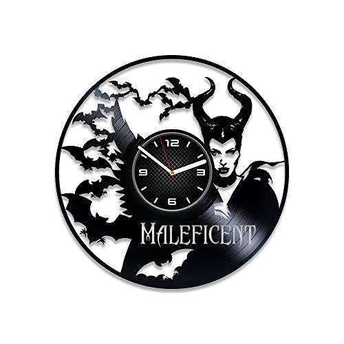 Kovides Maleficent Vinyl Clock Maleficent Vinyl Record Wall Clock Disney Gift for Kids Maleficent Wall Clock Maleficent Gift Disney Clock Disney Art Disney Vinyl Clock Maleficent Clock]()