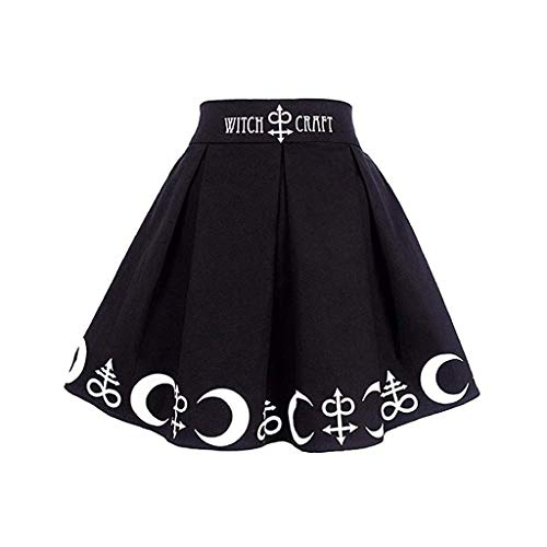 HANANei Women Gothic Punk Witchcraft Moon Magic Spell Symbols Pleated Mini Skirt (XL=US:10, Black)