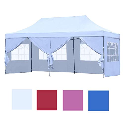 Leisurelife Outdoor Pop Up 10'x20' Wedding Tent with 6 Sidewalls - White Folding Commercial Gazebo Canopy Tent with Wheeled Carry Bag