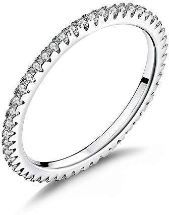 BQZB Ring Modische Ring Kreis klare geometrische stapelbare Ringe für Frauen Hochzeit Schmuck Geschenk