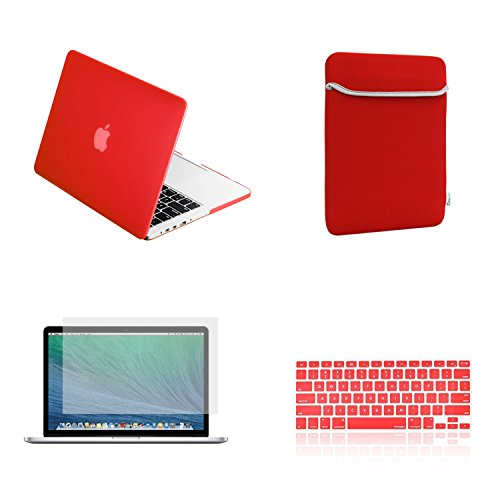 TopCase Rubberized Hard Case for 13-Inch Macbook Pro A1425 and A1502 Bundle with Sleeve, Silicone Keyboard Cover, Clear Screen Protector and Mouse Pad - Red