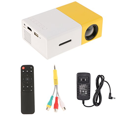 MagiDeal YG-300 LED Portable Projector 600LM 3.5mm Audio 320 x 240 Pixels YG-300 USB Mini Projector Home Media Player Yellow