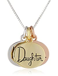 "Tri-Color Sterling Silver Yellow and Rose Gold-Flashed ""Mother Daughter Friends"" Charm Necklace 18"""