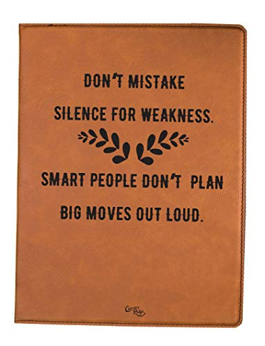 (Engraved Small Leather Portfolio - Don't Mistake Silence for)