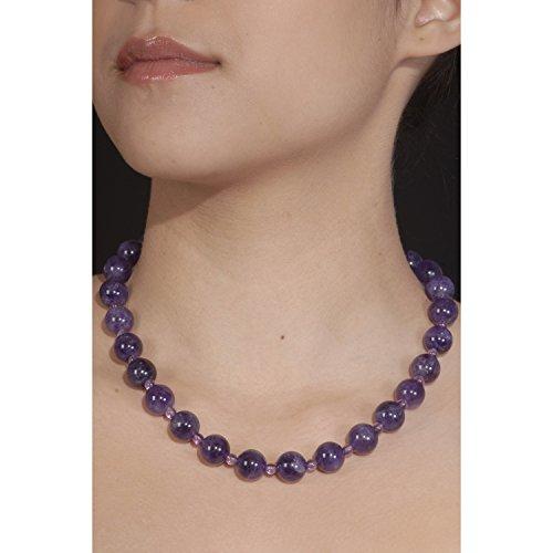 Hi-Perle - Collier en pierre naturelle : améthyste et fermoir argent (grosses perles)