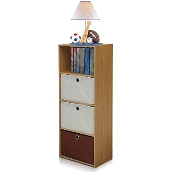 FURINNO NT-12061OAK/IV-DB2 TiADA No Tools 4-Tier Shelf Storage with Bin, Natural Oak Finish