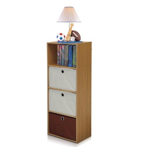 - Furinno NT-12061OAK/IV-DB2 TiADA No Tools 4-Tier Shelf Storage with Bin, Natural Oak Finish