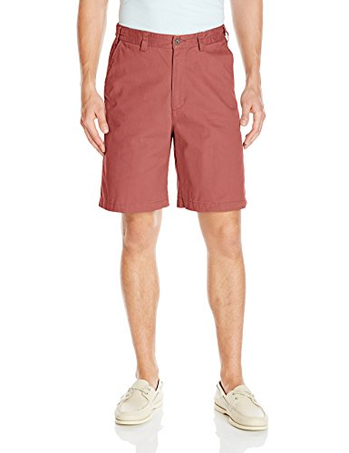 Flat Front Twill Shorts (Geoffrey Beene Men's Empire Washed Twill Flat Front Short, Red, 33)