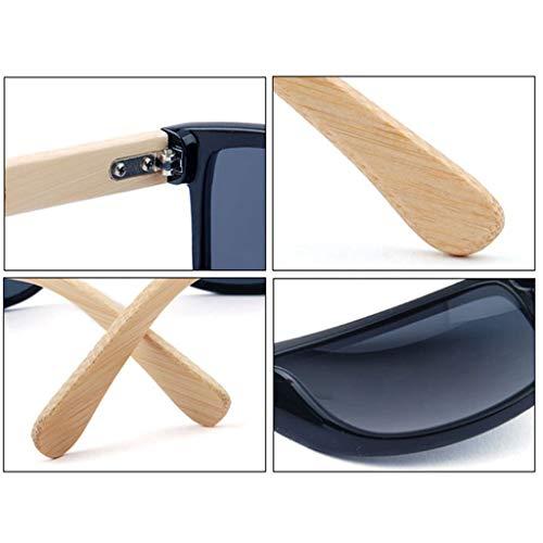 sol Deportivo Estilo UV400 bambú Azul Amarillo Hombre bambú Gafas de Hombres Gafas de Mujeres de Gafas protección de Color fwdqn4Ffx