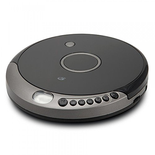 GPX PC807B Personal Portable MP3/CD Player with Anti-Skip Protection with Stereo Earbuds, Black/Gray by GPX