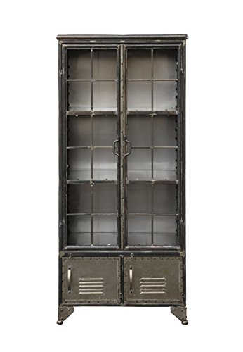 Creative Co-op Distressed black Metal Cabinet with Four Doors by Creative Co-op