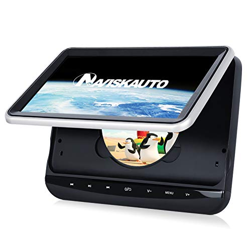 NAVISKAUTO 10.1″ Car Headrest DVD Player for Kids with Touch Button and Front Clamshell Design Support Sync Screen/AV Out & in/USB SD/Last Memory