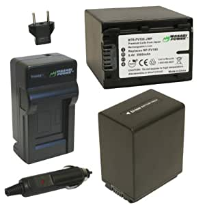 Wasabi Power Battery (2-Pack) and Charger for Sony NP-FV100 and Sony DCR-SR15, SR21, SR68, SR88, SX15, SX21, SX44, SX45, SX63, SX65, SX83, SX85, FDR-AX100, HDR-CX105, CX110, CX115, CX130, CX150, CX155, CX160, CX190, CX200, CX210, CX220, CX230, CX260V, CX290, CX300, CX305, CX330, CX350V, CX360V, CX380, CX430V, CX520V, CX550V, CX560V, CX580V, CX700V, CX760V, CX900, HC9, PJ10, PJ30V, PJ50, PJ200, PJ230, PJ260V, PJ340, PJ380, PJ430V, PJ540, PJ580V, PJ650V, PJ710V, PJ760V, PJ790V, PJ810, TD10, TD20V, TD30V, XR150, XR155, XR160, XR260V, XR350V, XR550V, HXR-NX3D1U, NX30U, NX70U, NEX-VG10, VG30, VG30H, VG900