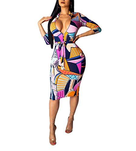 (ECHOINE Women Sexy Leopard Deep V Neck Long Sleeve Zip Bodycon Midi Dress Club Outfits with Belt (Flower, XXL))