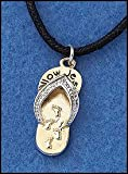 Christian Faith Jewelry Follow Jesus Footprints in the Sand Sandal Shape Pendant with 16 Inch Cord Necklace