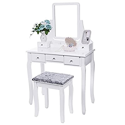 BEWISHOME Vanity Set Mirror & Cushioned Stool Dressing Table Vanity Makeup Table 5 Drawers 2 Dividers Movable Organizers White/Black/Brown FST01/3 from BEWISHOME