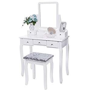 Amazon.com: BEWISHOME Vanity Set with Mirror & Cushioned