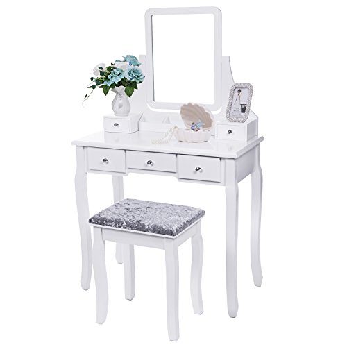 (BEWISHOME Vanity Set with Mirror & Cushioned Stool Dressing Table Vanity Makeup Table 5 Drawers 2 Dividers Movable Organizers White FST01W)
