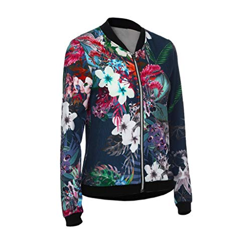 Camo Floral Imprimer Fleur MEIbax Veste Femmes Fonc Manteau Dames Zipper Cuir Veste PU Motorcycle Up Slim Biker Celeb Zipper Bleu Outwear nbsp; Bomber Manteaux Souple wYI0q