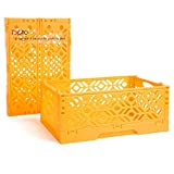 Small shelf Organizer Plastic storage basket Collapsible Hollow box For Household Office Kitchen Bathroom(SALMON)