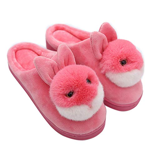 Nafanio Women House Shoes Winter Warm Lovely Fluffy Cartoon Indoor Rabbit for Use Homing Shoes for Ladies