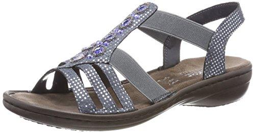womens blau 5 910801 Rieker bleu silver Sandalette PqSdng