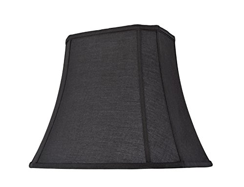 Transitional Oblong Cut Corner Bell Spider Construction Lamp Shade in Black, 12