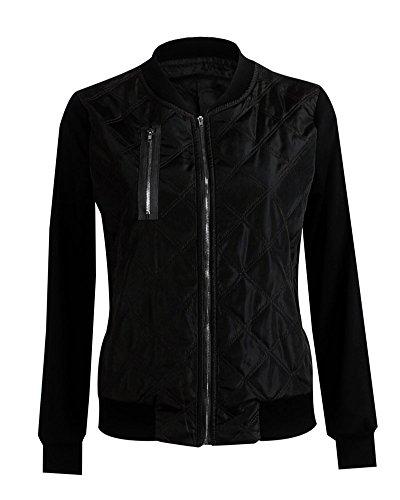 Jacket Noir Zhuikun Bomber Zipper Occasionnels Coat Femmes Manches Longues SRqw84YRr