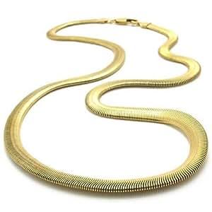 "KONOV Stainless Steel Men's Necklace Snake Chain - Gold 6mm 22"""