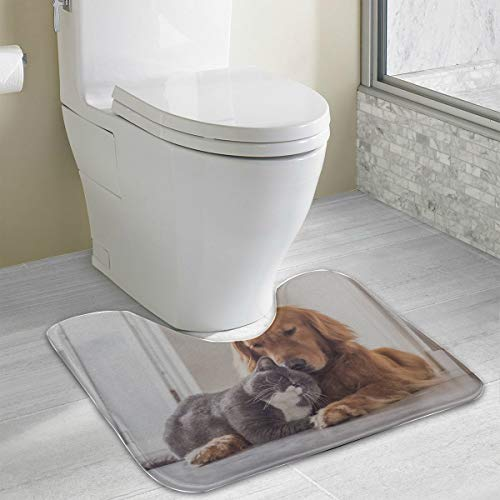 - Bathroom Rugs Cotton British Cat Golden Retriever U-Shaped Non Slip Absorbent Thick Soft Washable Absorbent Bath Mat
