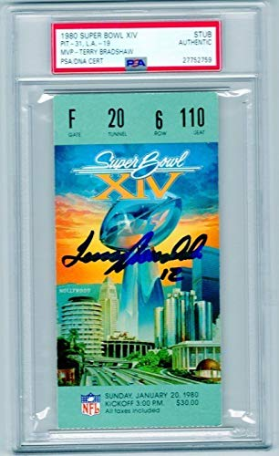 Terry Bradshaw Autographed Signed 1980 Super Bowl Xiv Ticket Stub Steelers Vs. Rams PSA/DNA Authentic