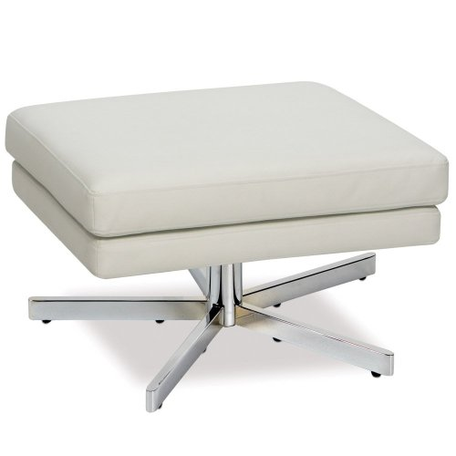 (Ave Six Yield Ottoman. White Faux Leather.)