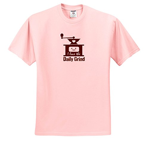 Price comparison product image 3dRose Russ Billington Designs - Funny Coffee Grinder Design In Brown On White - T-Shirts - Youth Light-Pink-T-Shirt XS(2-4) (TS_262256_43)