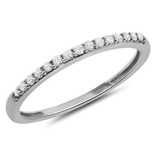 Set Baguette Diamond Wedding Band - 0.15 Carat (ctw) 14k Gold Round Diamond Petite Prong Set Wedding Band Anniversary Ring Stackable 1/7 CT - White-gold, Size 6.5