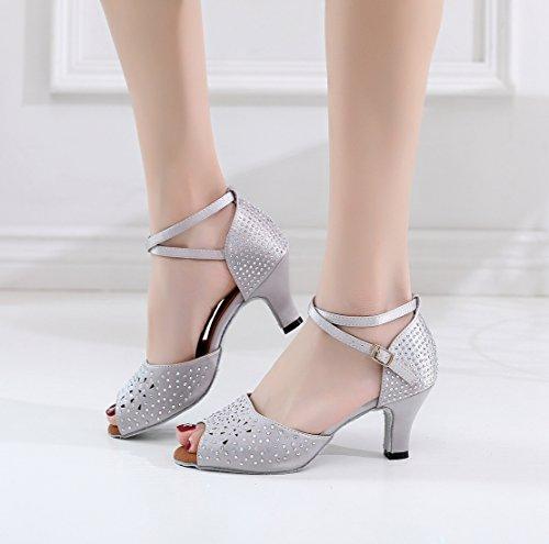 Toe Grey Shoes Latin Ballroom Dancing 5 6 Peep Wedding UK Sandals Ladies MINITOO Studded Satin xYEI4I