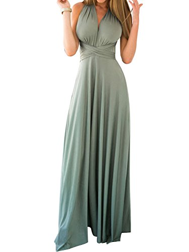Persun Infinity Gown Dresses Multi-way Strap Wrap Convertible Maxi Dresses for Womens,Green,M