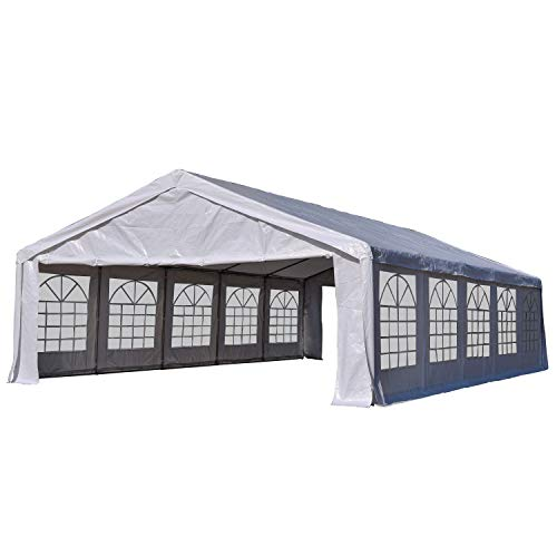 Outsunny 32' x 20' Heavy Duty Outdoor Party Tent/Carport - White