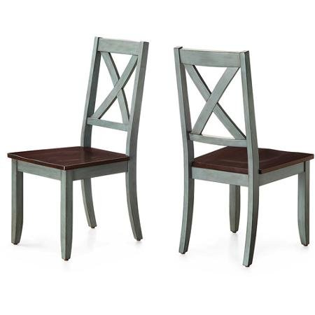 Sturdy Better Homes and Gardens Maddox Crossing Dining Chair, Blue, Set of 2 (Stain Wood Furniture Garden)