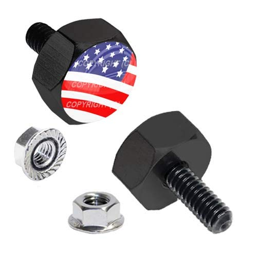 TrickToppers Hex Head Vivid Black Billet Aluminum Universal Motorcycle License Plate Frame Fastener Tag Bolt Kit with High Resolution Gloss Graphics - Military Veteran USA American Flag (2 Pcs)