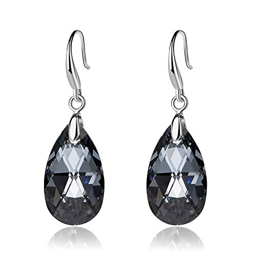 EVEVIC Swarovski Crystal Teardrop Dangle Hook Earrings for Women Girls 14K Gold Plated Hypoallergenic Jewelry ()