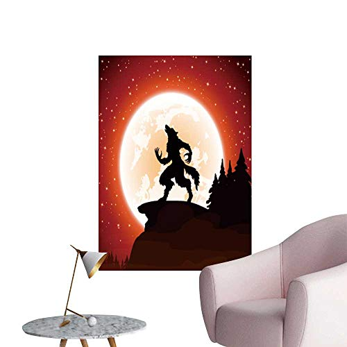 SeptSonne Wall Decoration Wall Stickers Halloween Night Werewolf on Moon backgroun Print Artwork,16