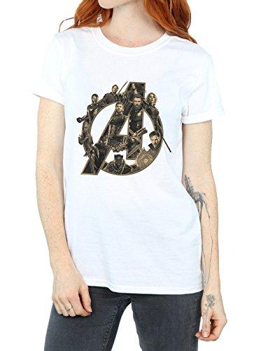 Avengers War Boyfriend Infinity Fit Shirt Bianca Logo Avengers Donna T 4BwBxrqUE