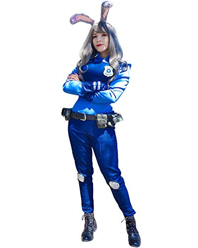 DAZCOS US Size Rabbit Judy Hopps Cosplay Costume with Badge Ears Tail (Women Small) Blue