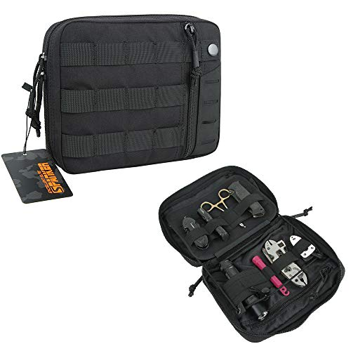 EXCELLENT ELITE SPANKER Molle Admin Pouch Tactical EDC Tool Pouch Military Nylon Holder Modular Utility Organizer Bag(BLK)