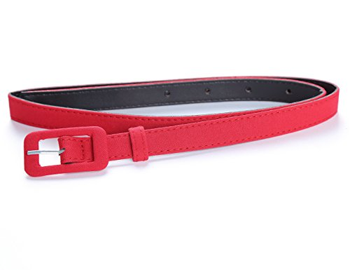 MUXXN Womens Belt- Solid Color Basic Belt for Casual Formal Dress or Jeans (Red L)